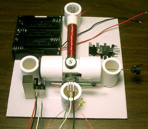 Motor, assembled from the Kit #8 (transistor shown with an optional heat sink)