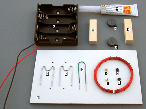 Parts included with Beakman's Motor kit